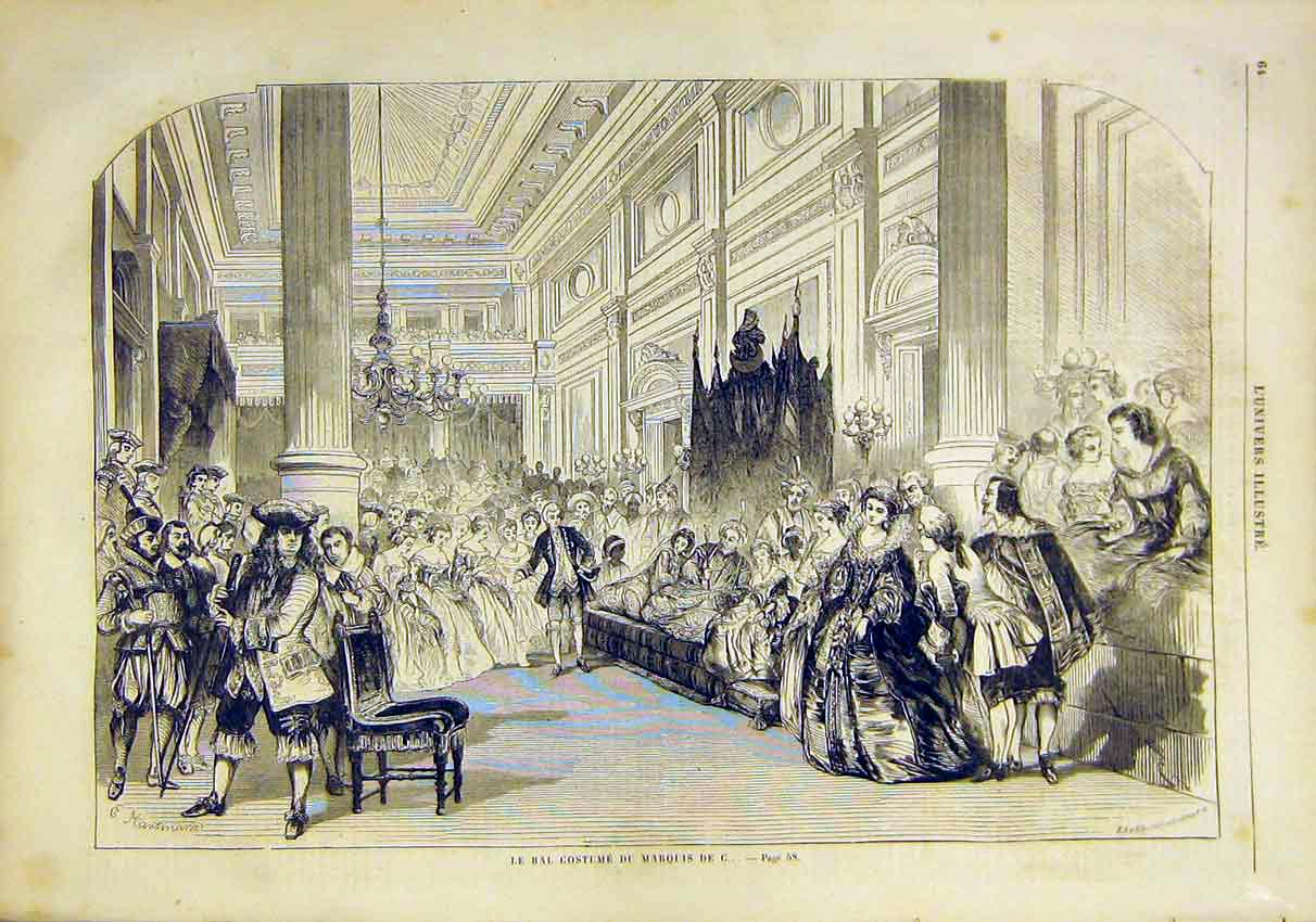 Print Costume Ball Marquis Fancy Dress French 1859 64Lun0 Old Original