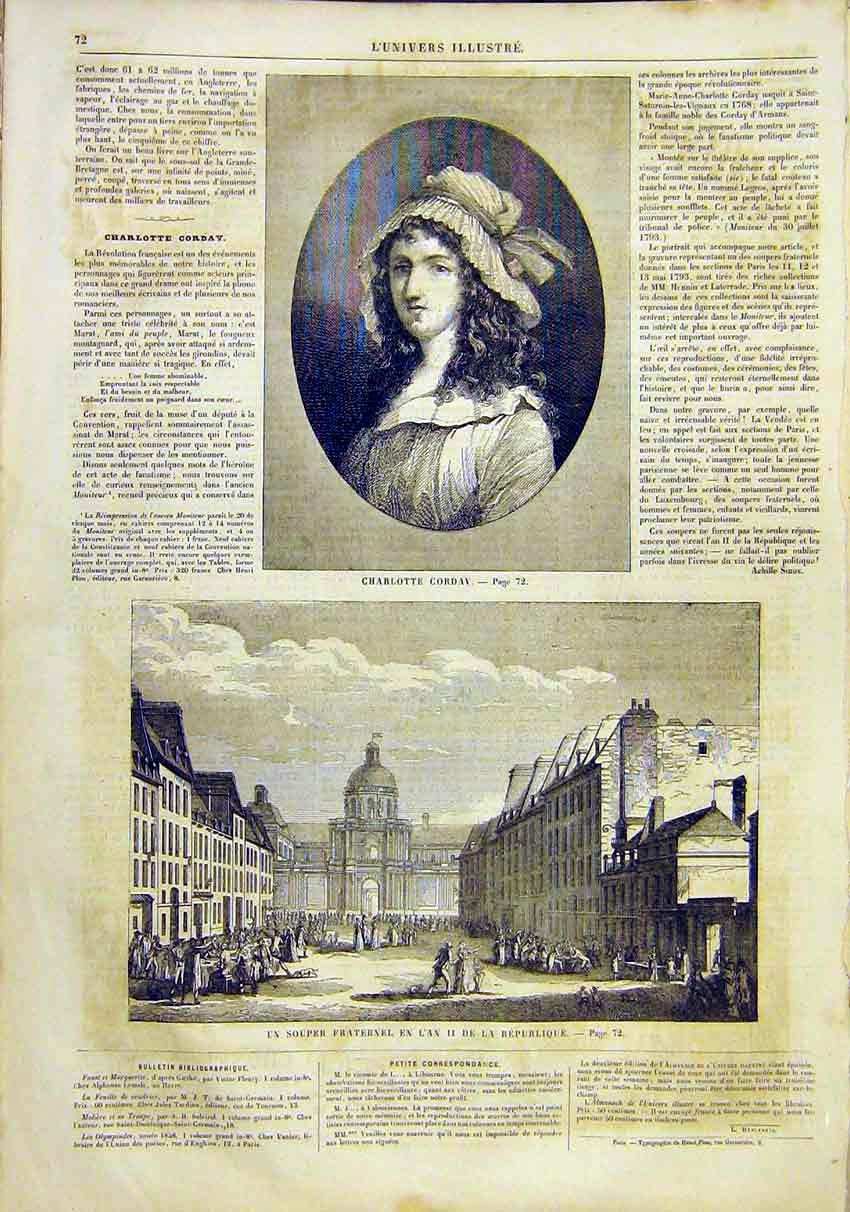 Print Portrait Charlotte Corday France French 1859 72Lun0 Old Original