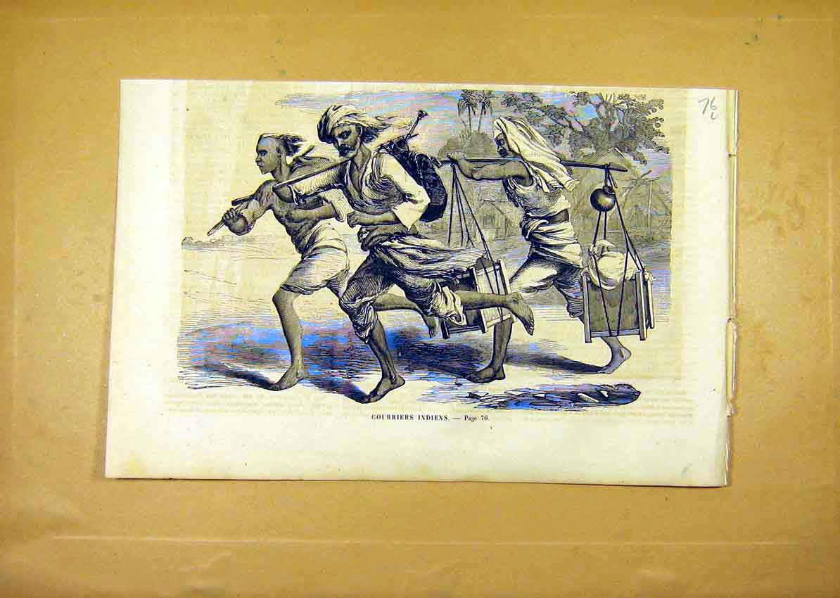 Print Indian Couriers Carriers Porter French 1859 76Llun0 Old Original