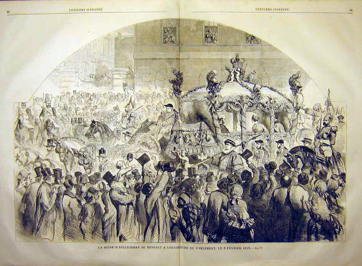 Print Parliament Opening London England French 1859 83Tlun0 Old Original