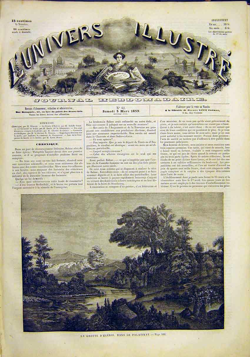 Print Palatinat Grotto Garden Park River French 1859 06Lun0 Old Original