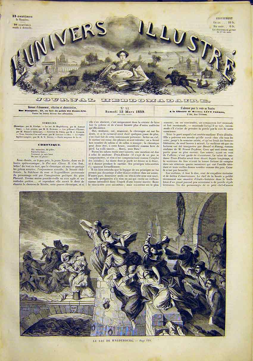 Print Battle Magdebourg War French 1859 14Lun0 Old Original