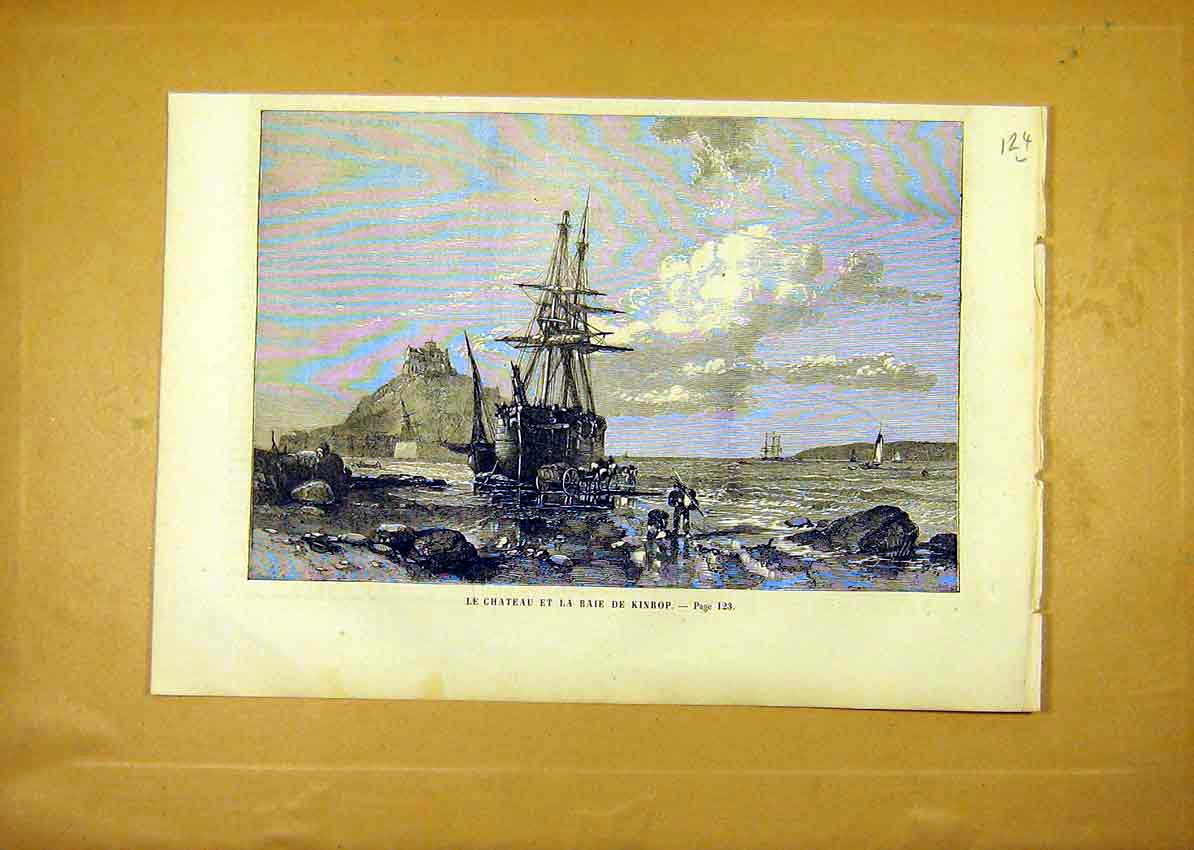 Print Castle Kinrop Bay Ship French 1859 24Llun0 Old Original