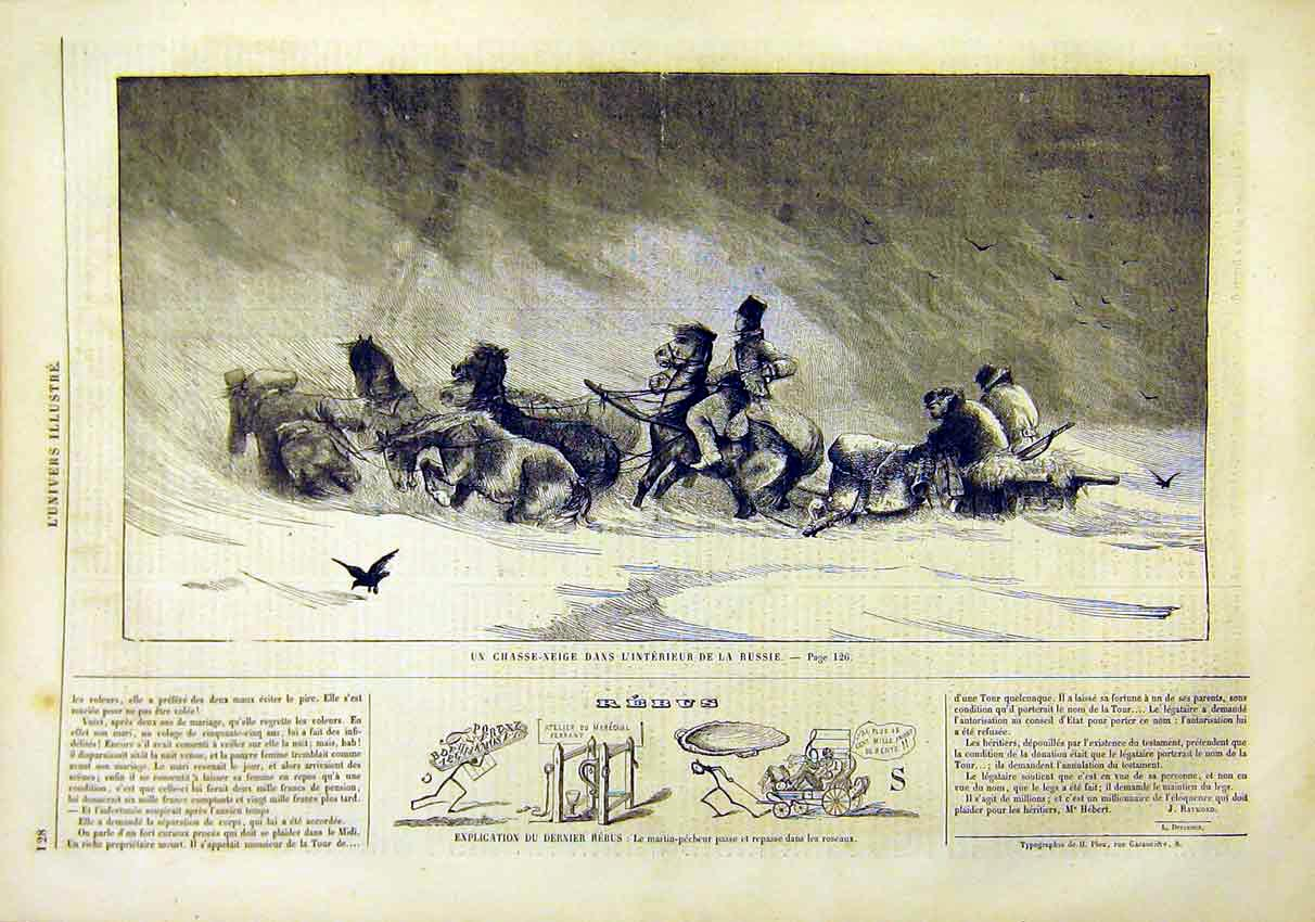 Print Russian Interior Snow Storm Sleigh French 1859 28Lun0 Old Original