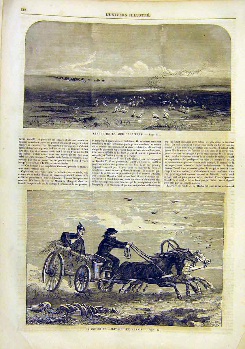 Print Steppes Caspian Military Russian Courier 1859 32Lun0 Old Original