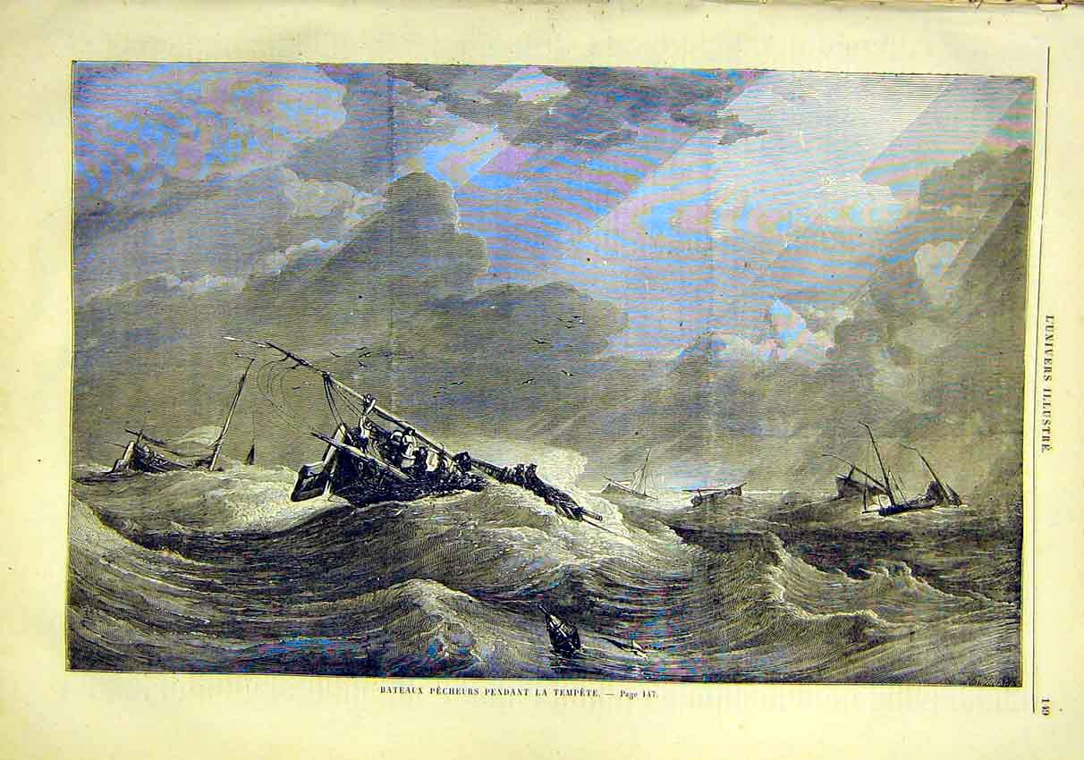 Print Boat Ship Storm Fishermen French 1859 49Lun0 Old Original