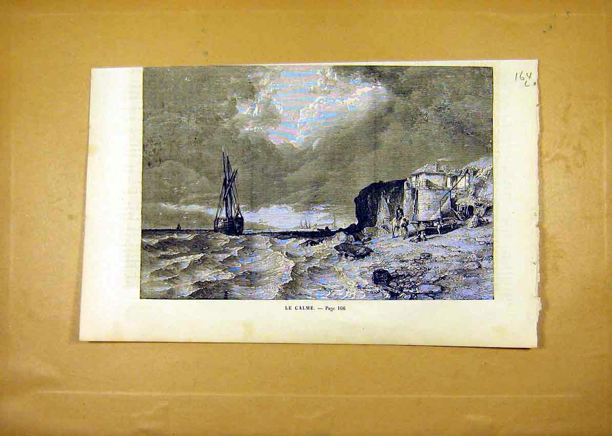 Print Calm Sea Beach Fine Art French 1859 64Llun0 Old Original