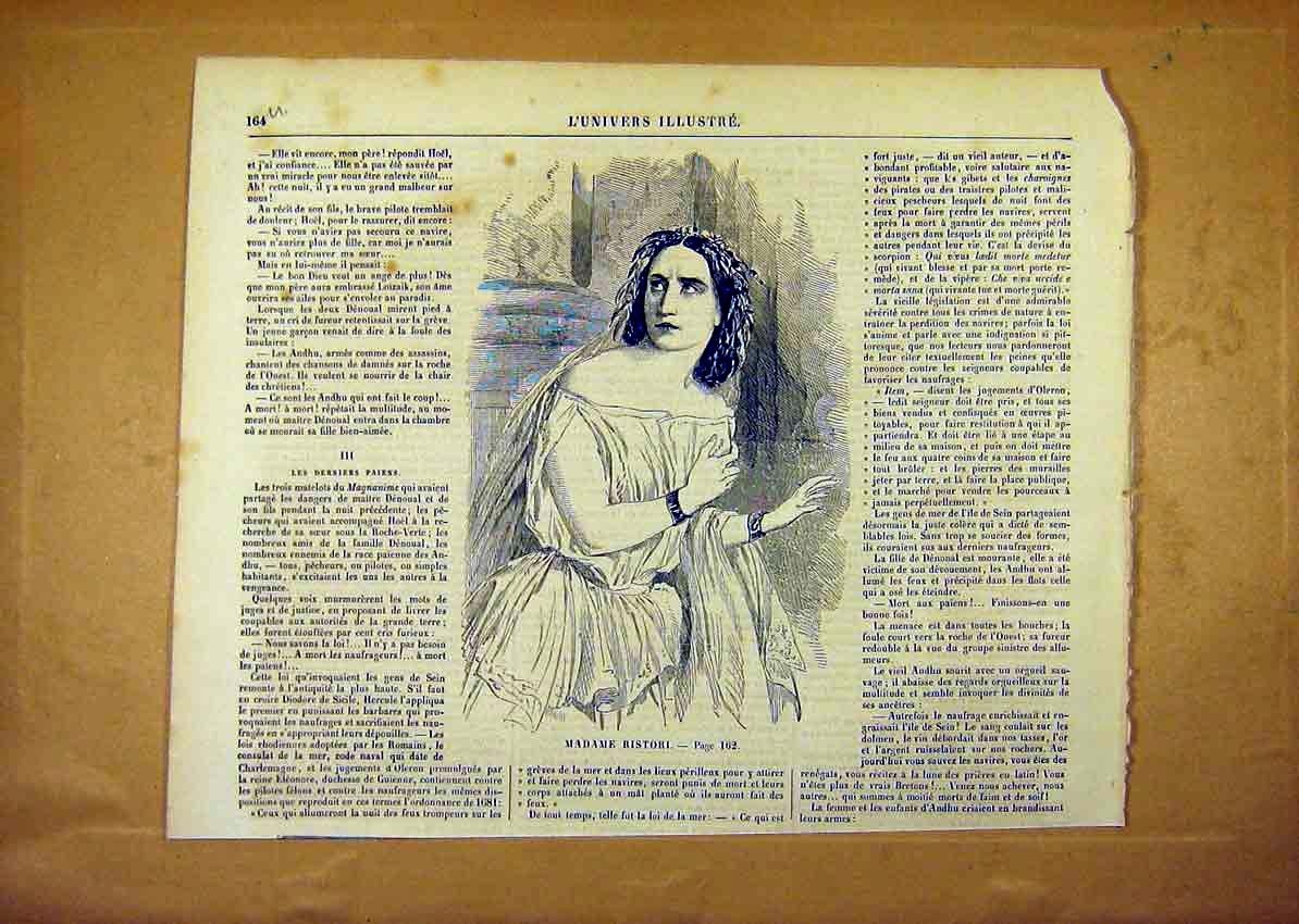 Print Portrait Madame Ristori French 1859 64Ulun0 Old Original