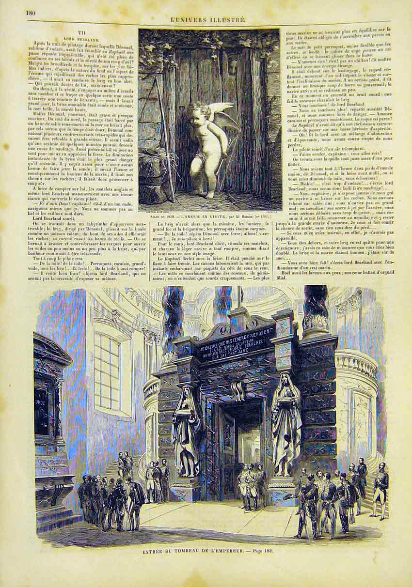 Print Cupid Tomb Emperor Entrance France French 1859 80Lun0 Old Original