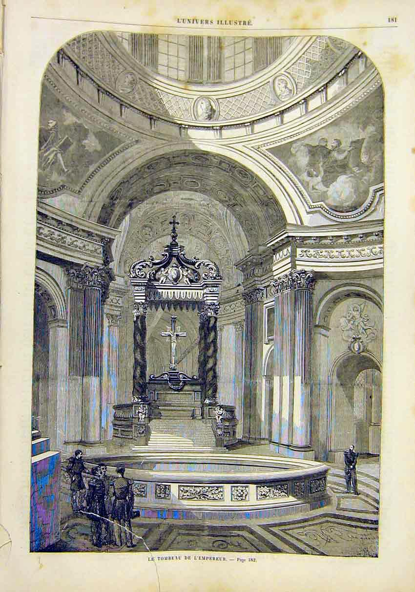 Print Tomb Emperor Church Cathedral French 1859 81Lun0 Old Original
