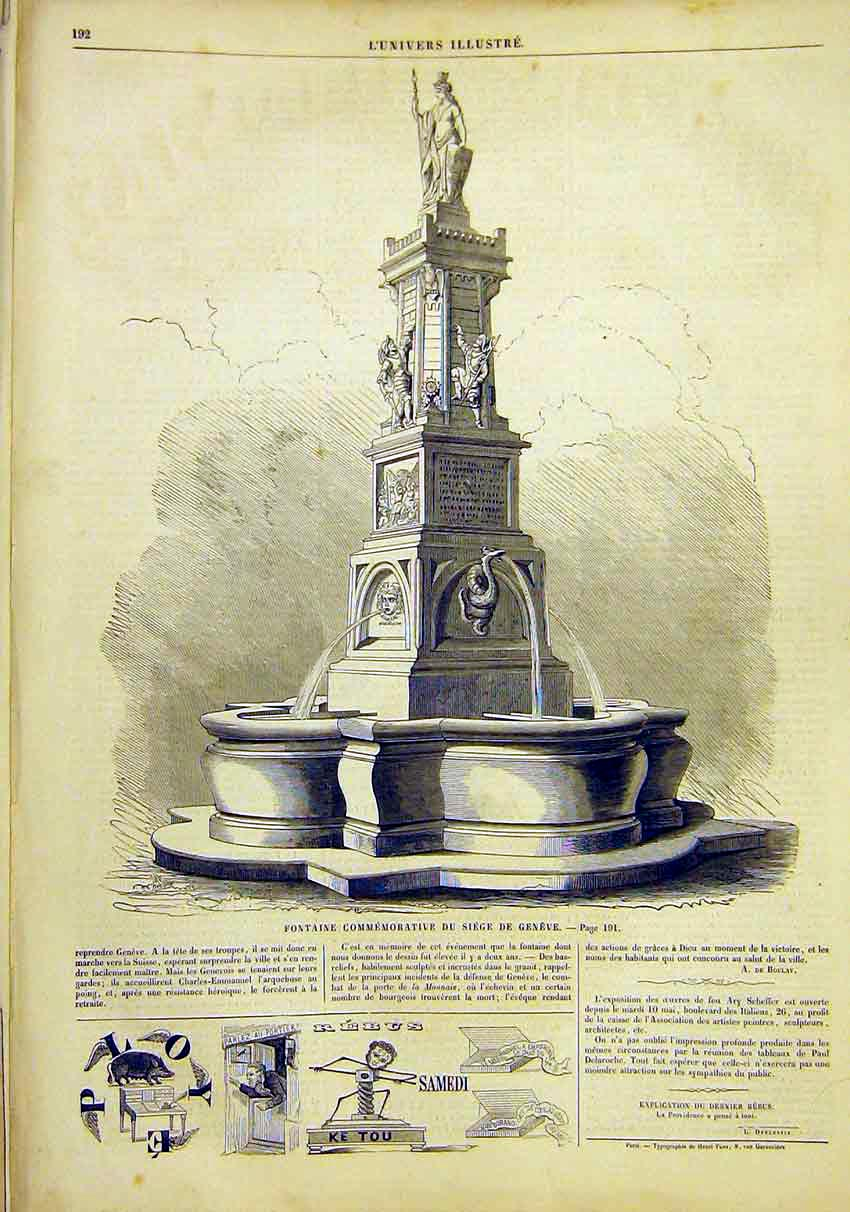 Print Fountain Seige Geneva Switzerland French 1859 92Lun0 Old Original