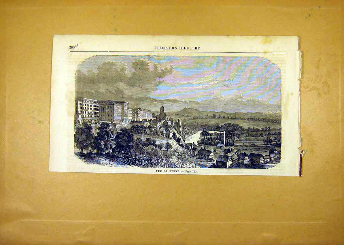 Print View Berne Switzerland French 1859 00Ulun0 Old Original