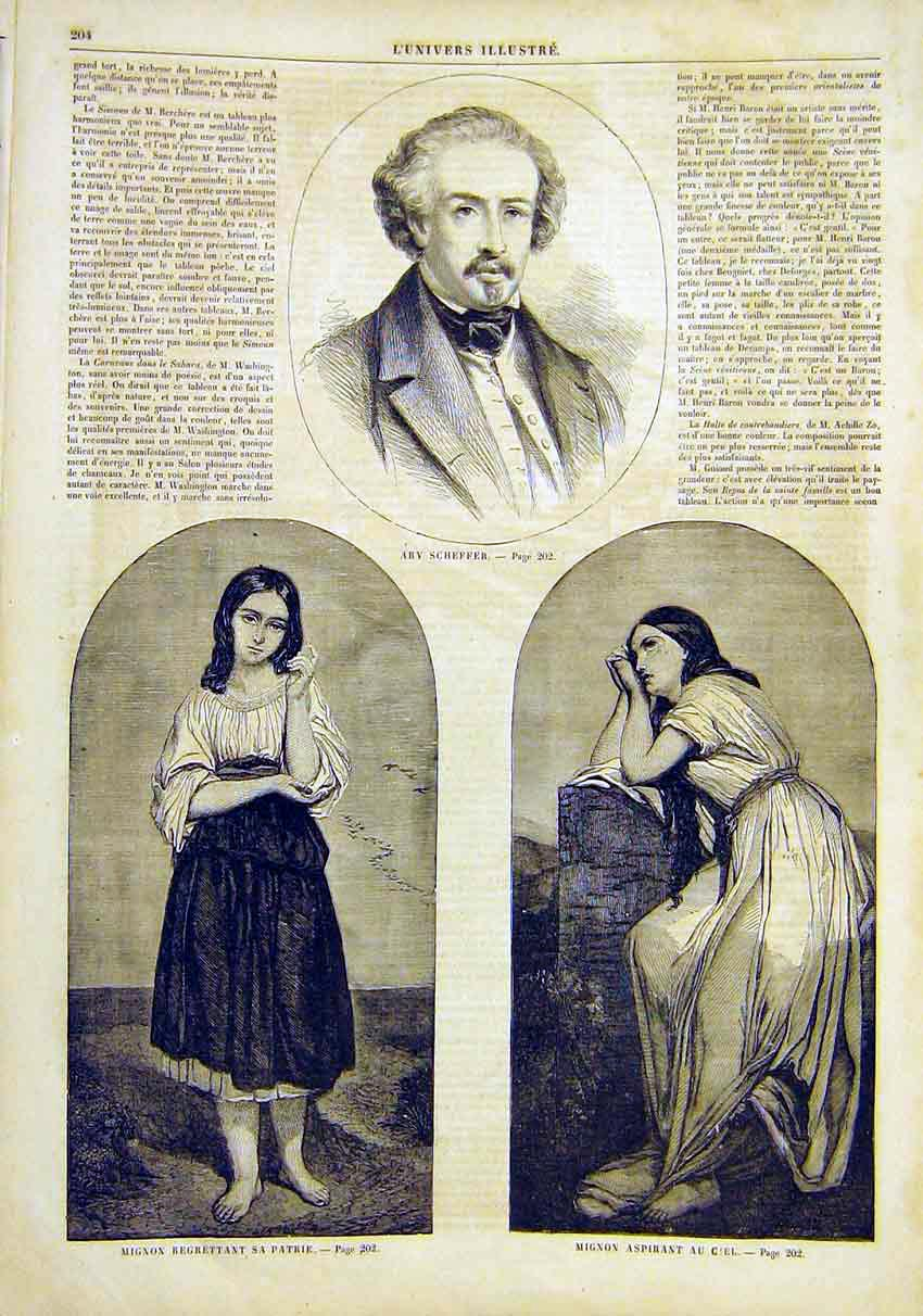 Print Portrait Scheffer Girl St Patrick Sun French 1859 04Lun0 Old Original