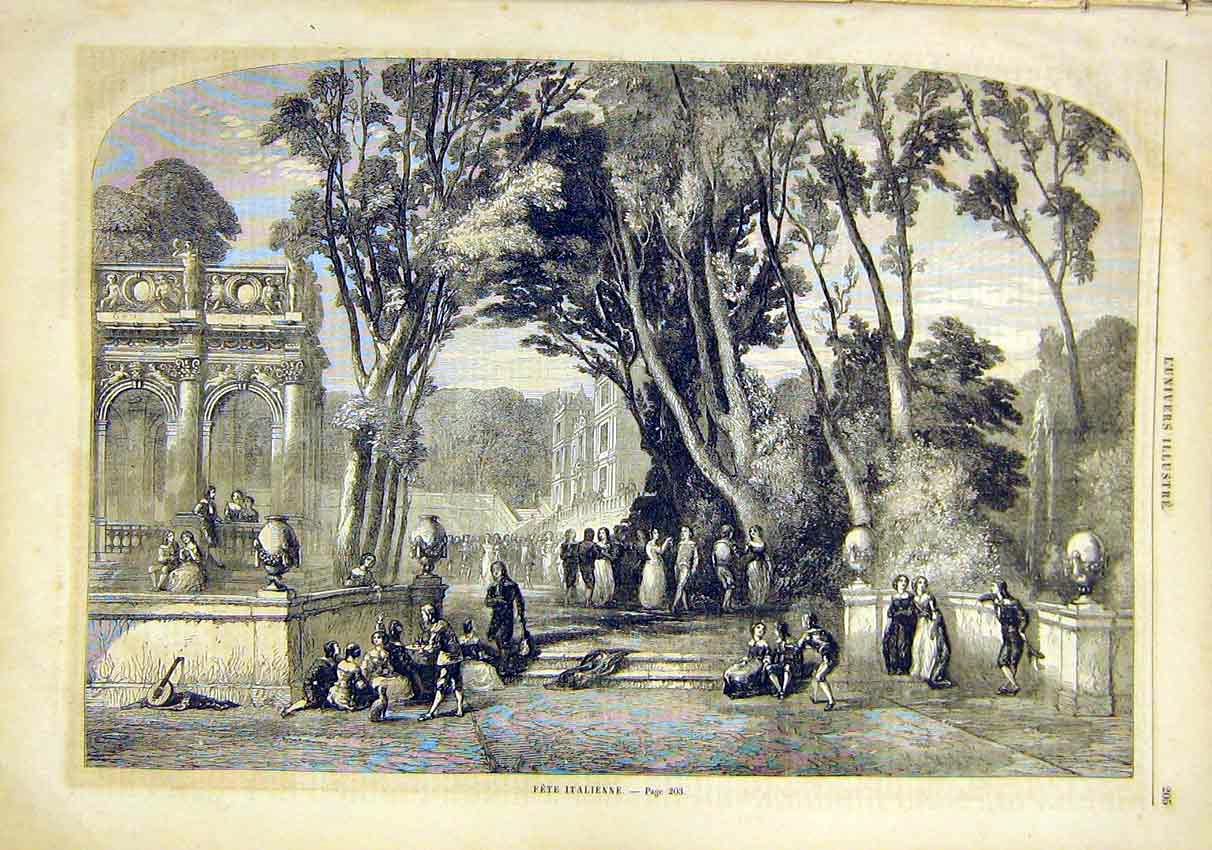Print Fete Italian Italy Park French 1859 05Lun0 Old Original