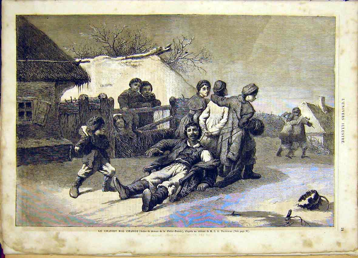 Print Trutowski Russian Chariot Sketch French 1865 21Lun0 Old Original