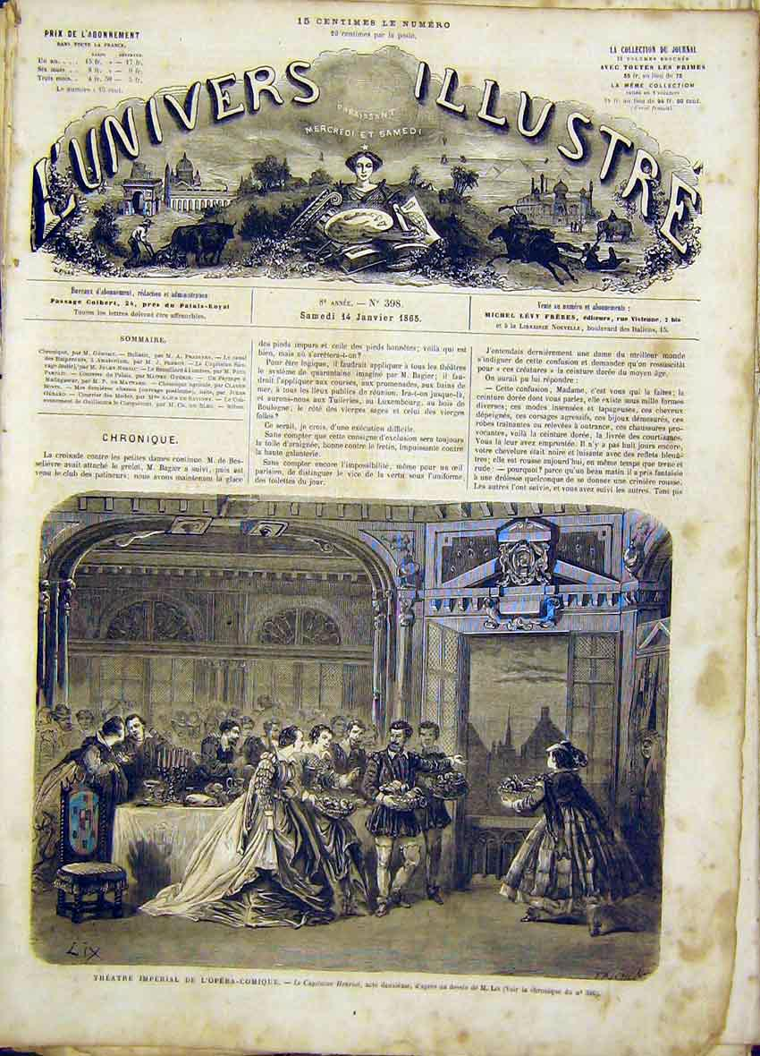 Print Theatre Imperial Opera Comic Henroit Lix 1865 26Lun0 Old Original