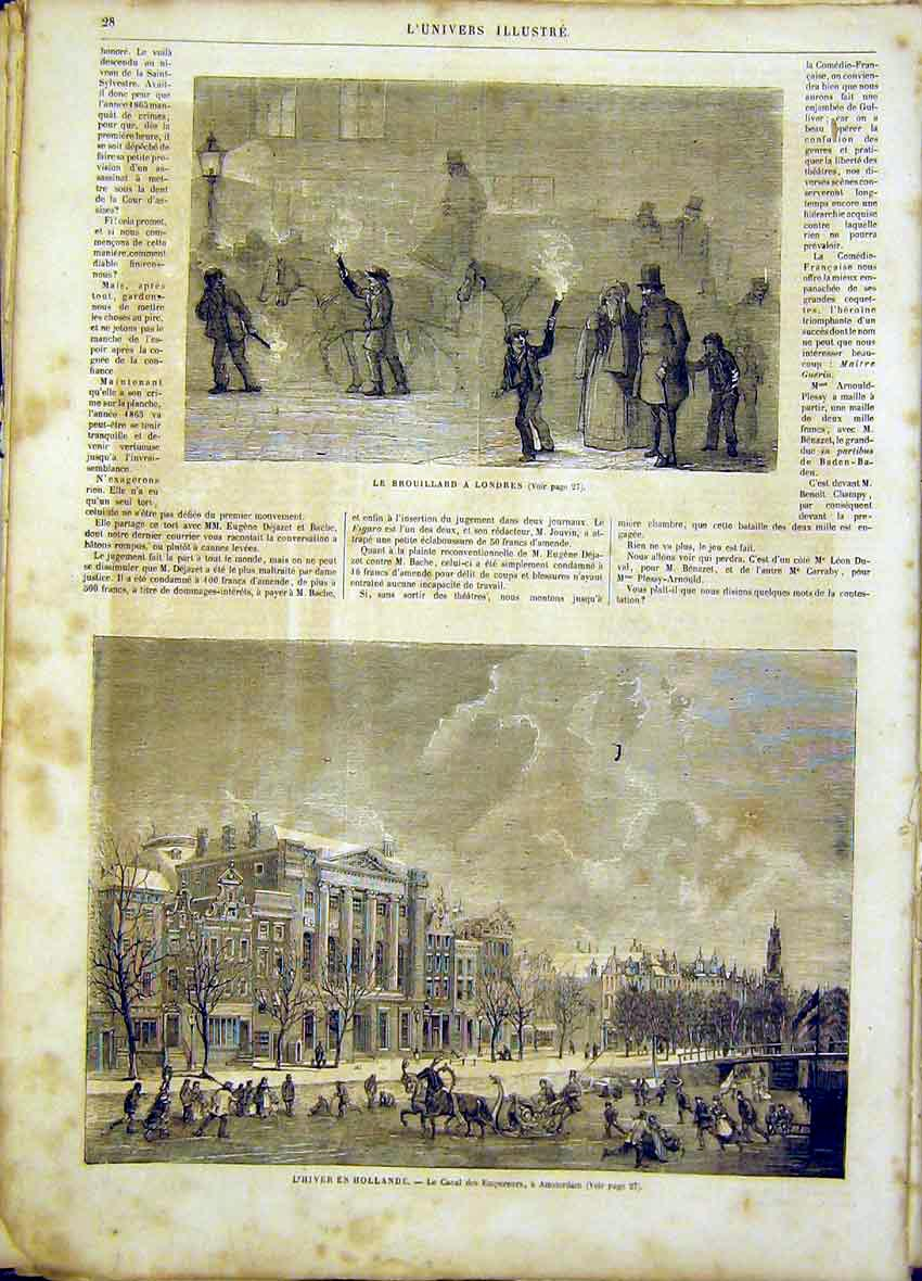 Print London Winter Holland Canal Amsterdam French 1865 28Lun0 Old Original