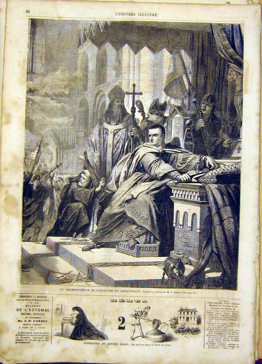 Print Guillaume Enthronement Cross Fine Art French 1865 32Lun0 Old Original