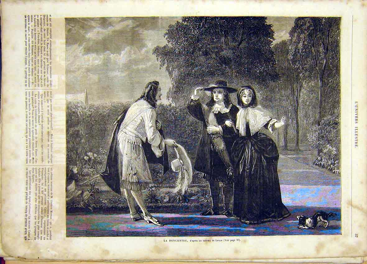 Print Leslie Fine Art French 1865 Meeting 37Lun0 Old Original