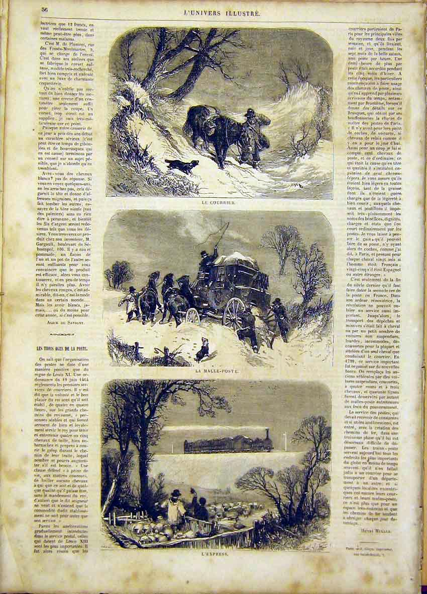 Print Post Mail Letters Courier Express French 1865 56Lun0 Old Original