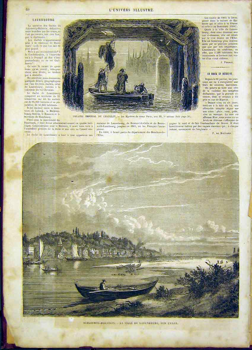 Print Theatre Imperial Chatelet Schleswig-Holstein Elbe 1865 60Lun0 Old Original