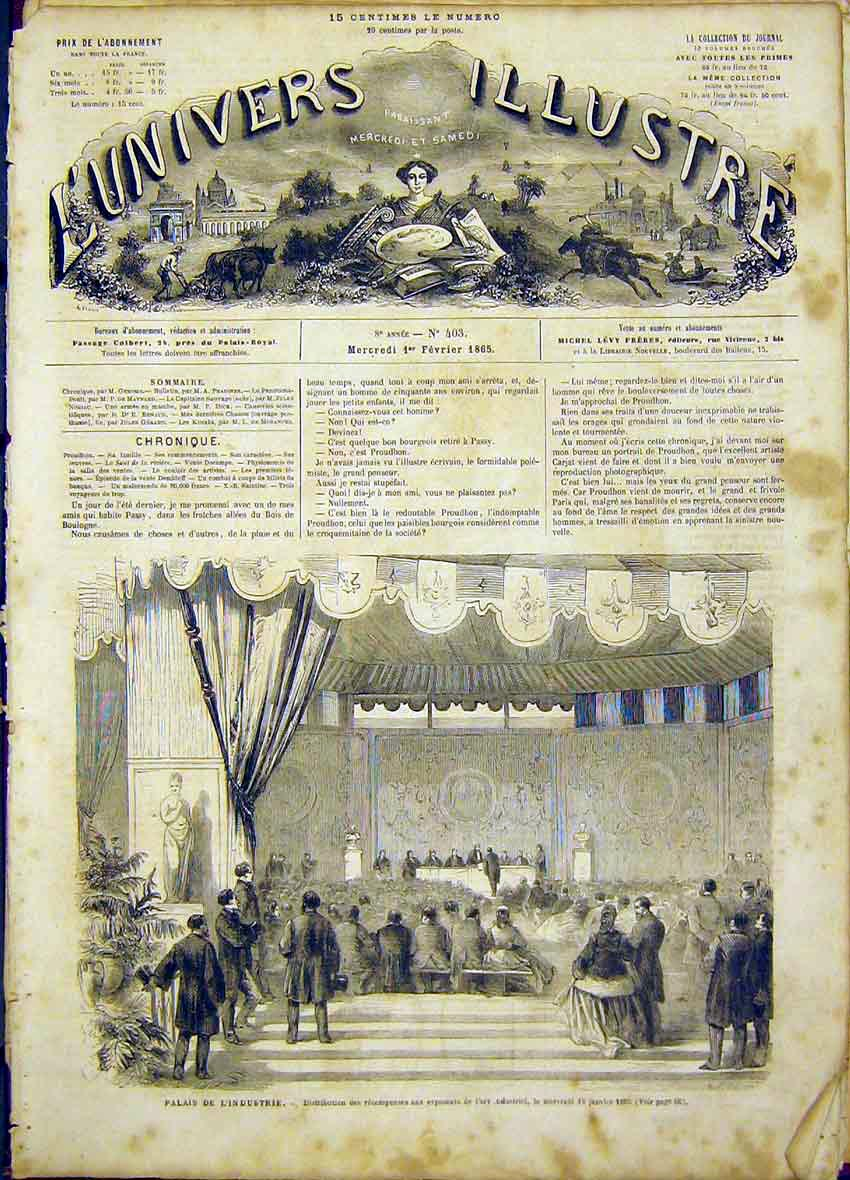 Print Palace Industry French 1865 66Lun0 Old Original