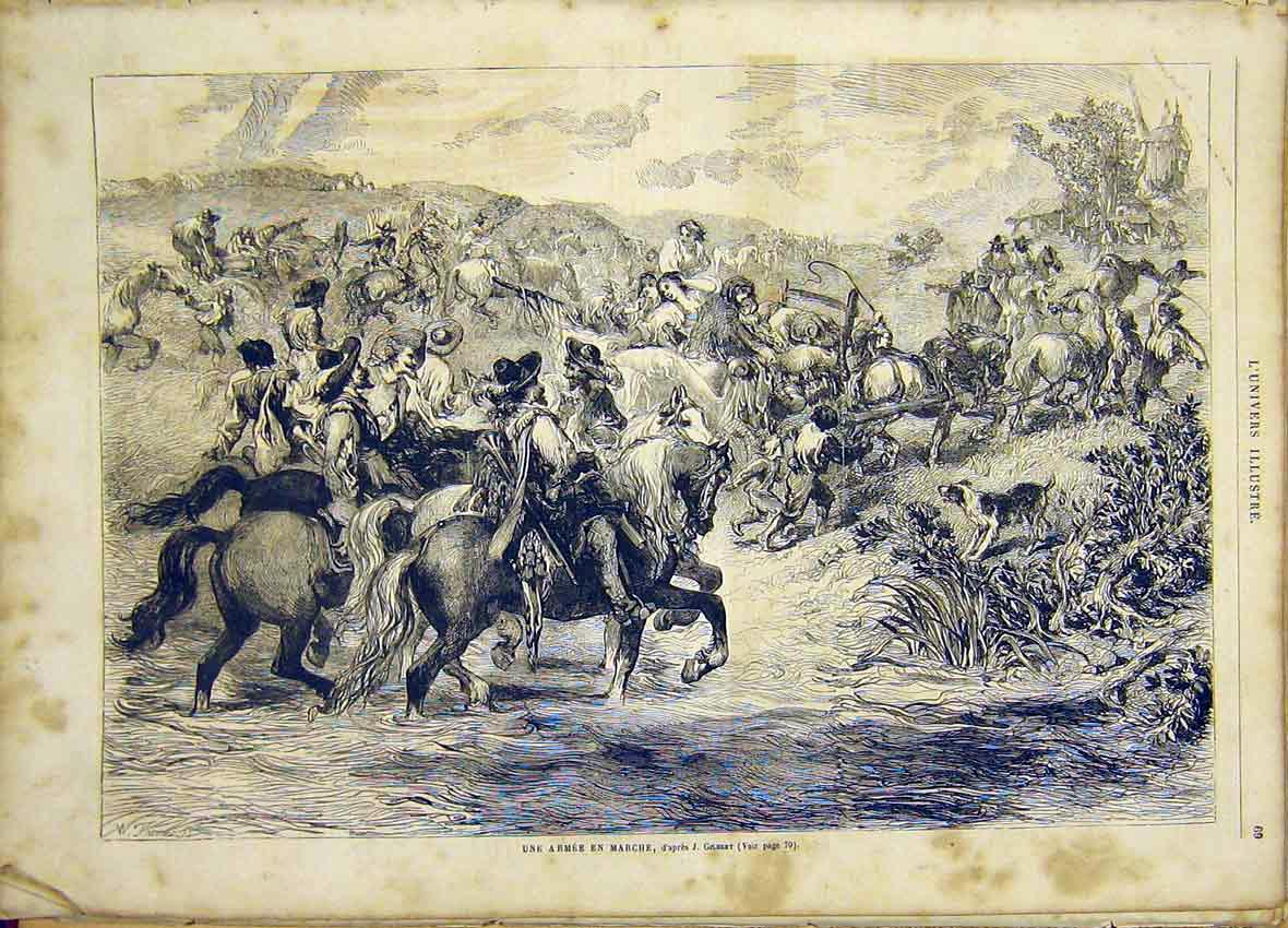 Print Gilbert Army Fine Art French 1865 Troops 69Lun0 Old Original