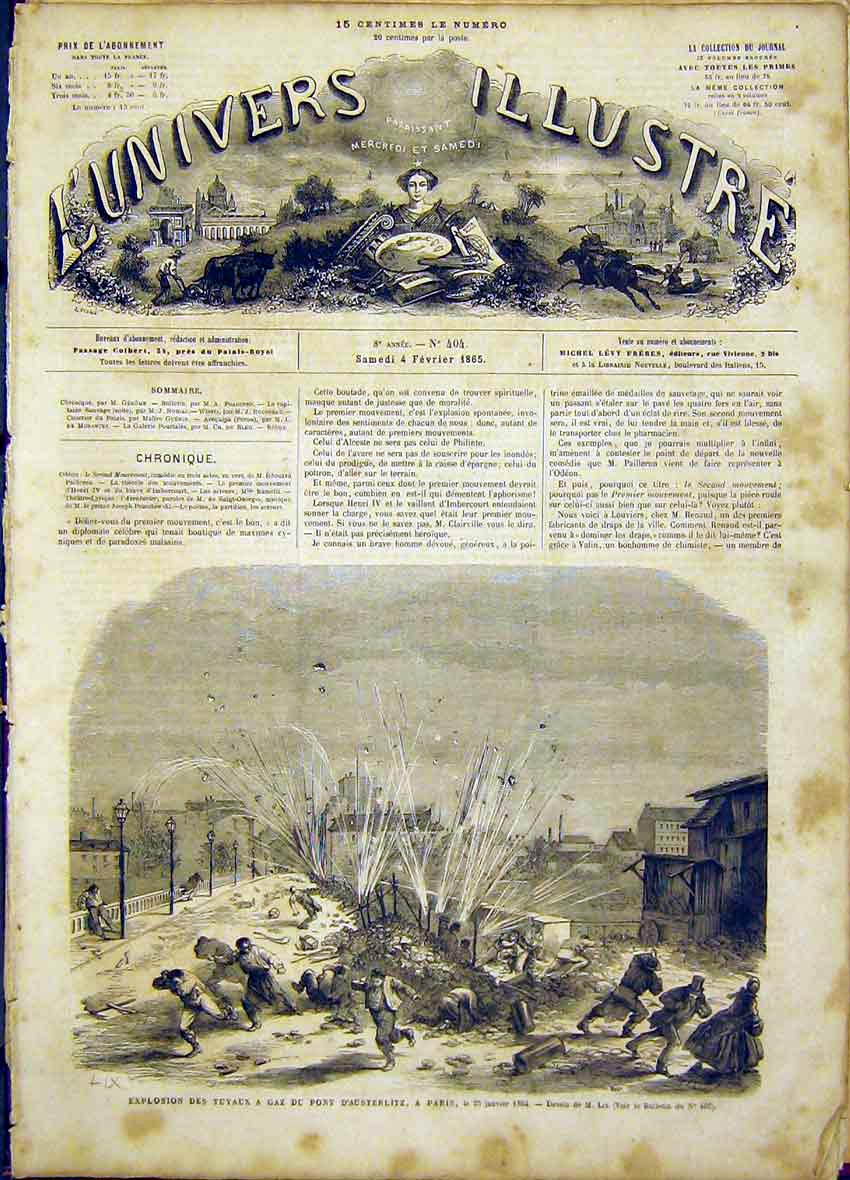 Print Explosion Austerlitz Paris France French 1865 74Lun0 Old Original