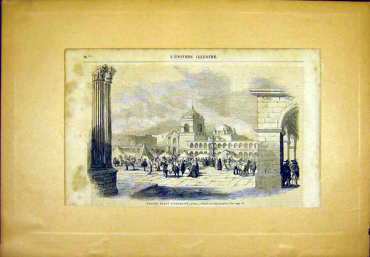 Print Place Arequipa Peru View French 1865 76Ulun0 Old Original