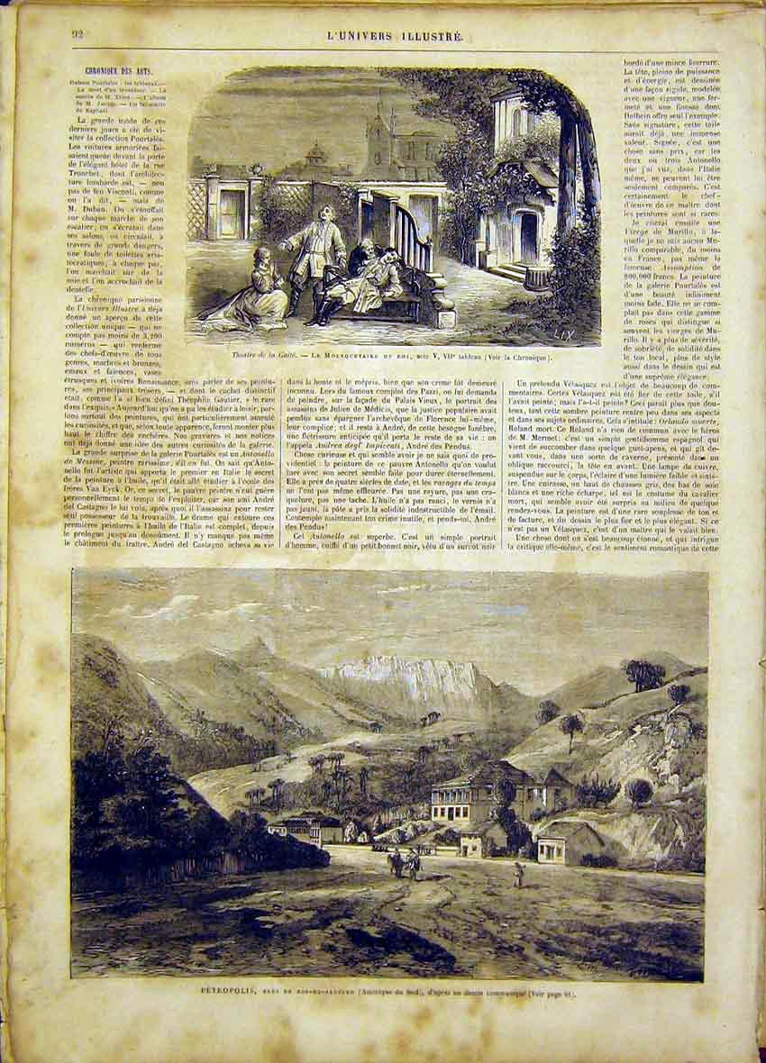 Print Gaiety Theatre Scene Petrolpolis South-America 1865 92Lun0 Old Original