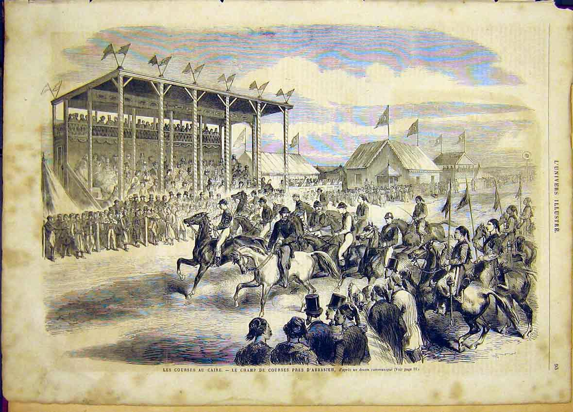 Print Cairo Egypt Race Course Abbasieh French 1865 93Lun0 Old Original