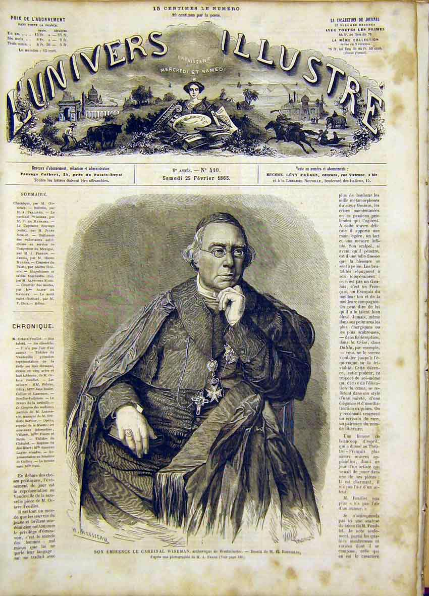 Print Portrait Cardinal Wiseman Westminster French 1865 22Lun0 Old Original