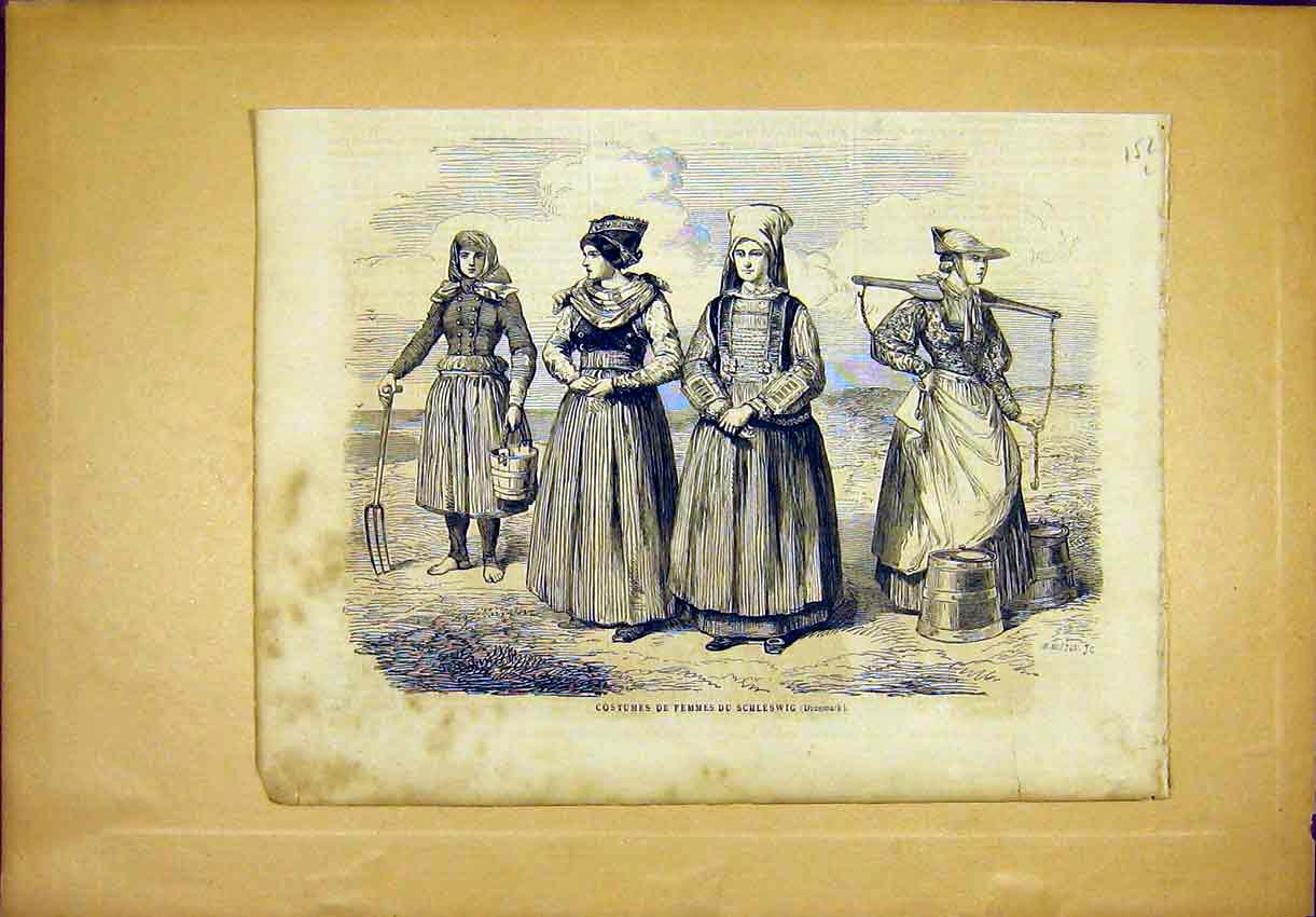 Print Costume Fashion Schleswig Denmark French 1865 52Llun0 Old Original