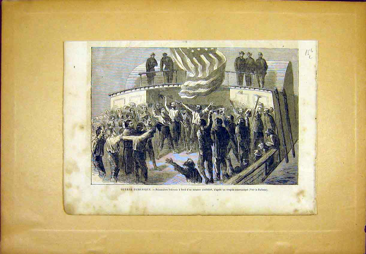 Print American Civil War Steamer Prisoners 1865 56Llun0 Old Original