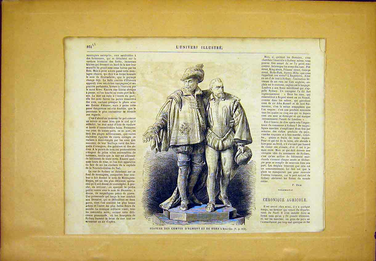 Print Statue Comtes Egmont Horn Brussels French 1865 64Ulun0 Old Original