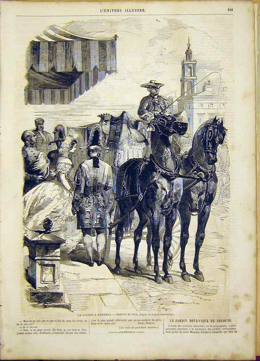 Print London Season Ball Horse Carriage Lady 1865 81Lun0 Old Original