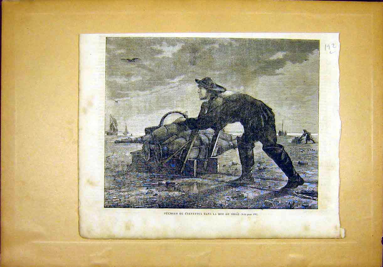 Print Crayfish Fishing Sea Fisherman French 1865 92Llun0 Old Original