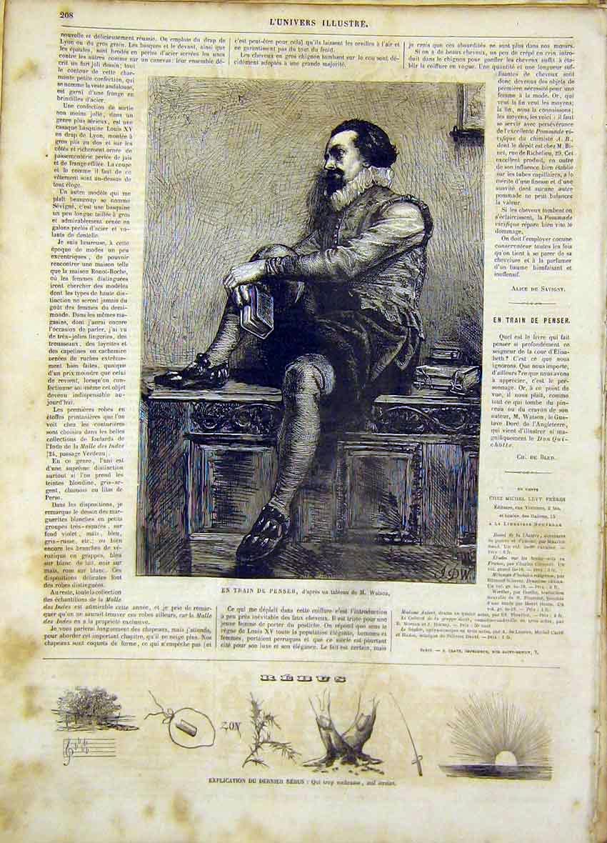 Print Thought Watson Fine Art French 1865 Man Thinking 08Lun0 Old Original