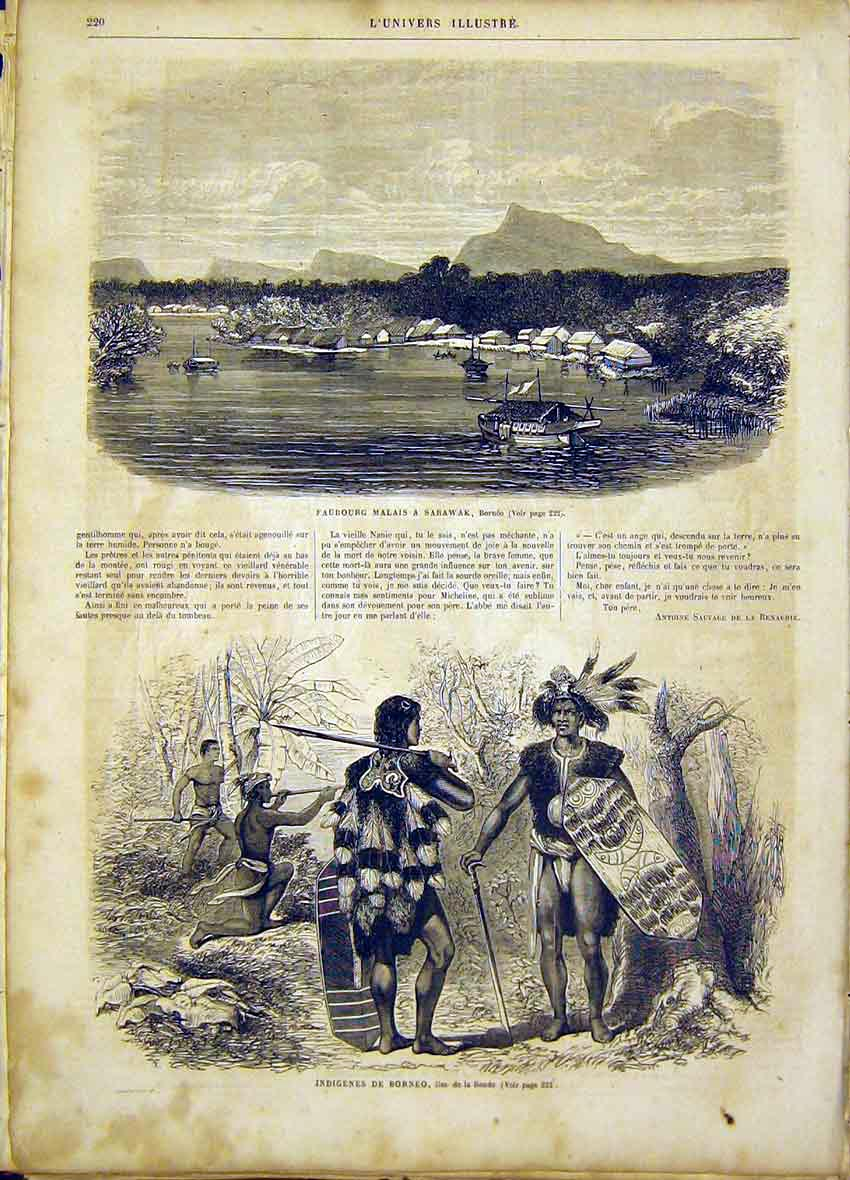 Print Borneo Natives Sarawak Boat Sonde French 1865 20Lun0 Old Original