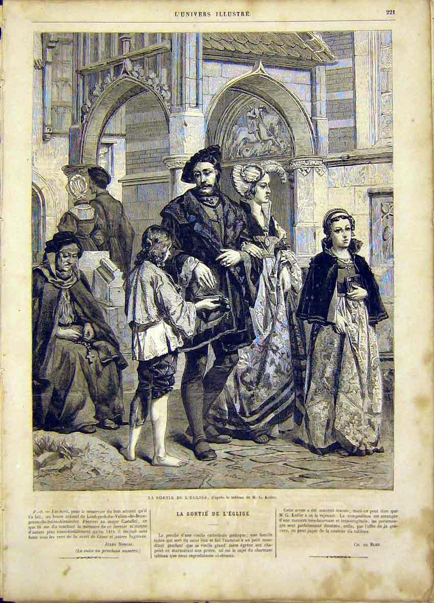 Print English Exit Koller Fine Art French 1865 21Lun0 Old Original
