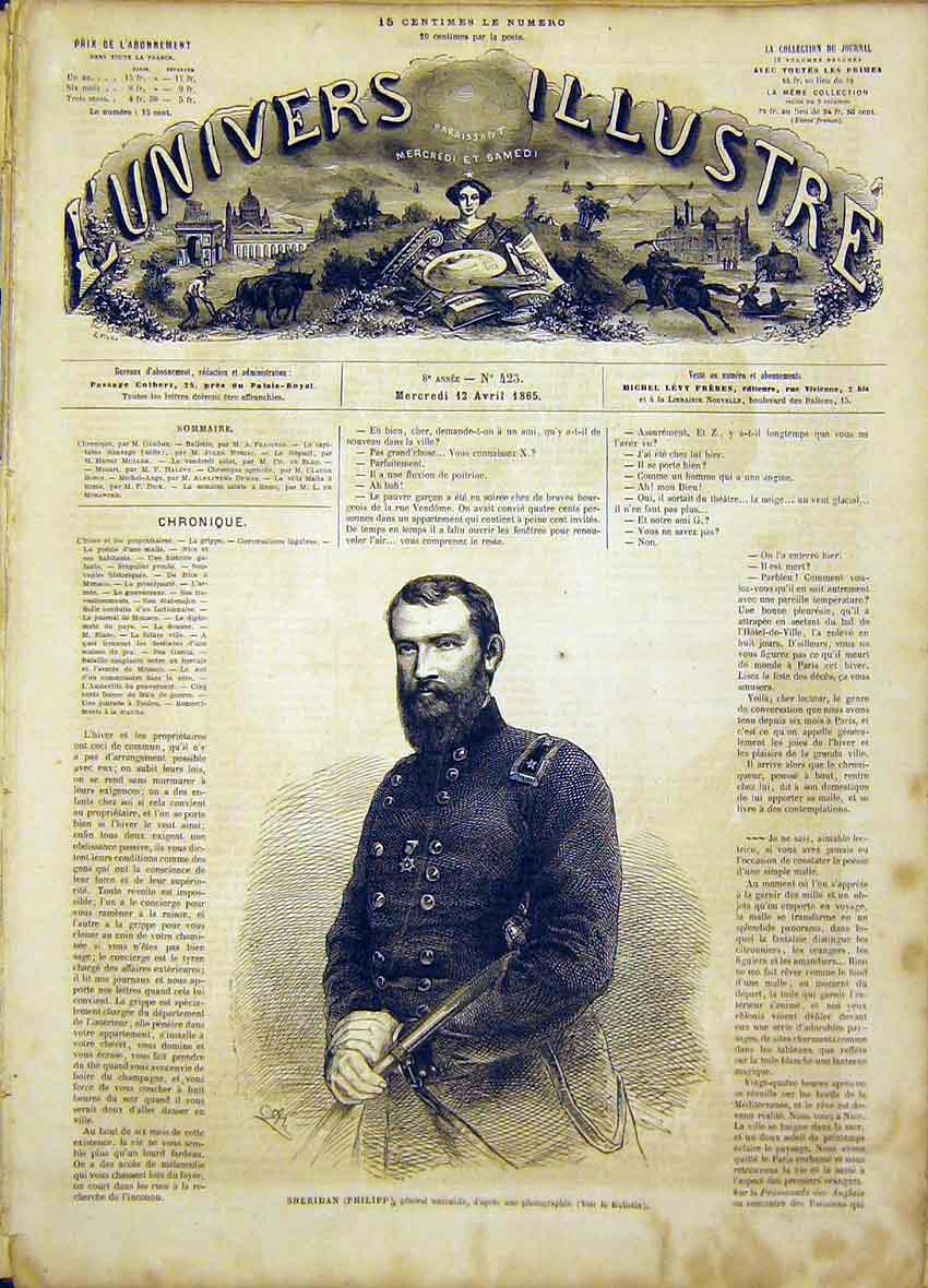 Print Portrait Sheridan Philipp General Unionist 1865 26Lun0 Old Original