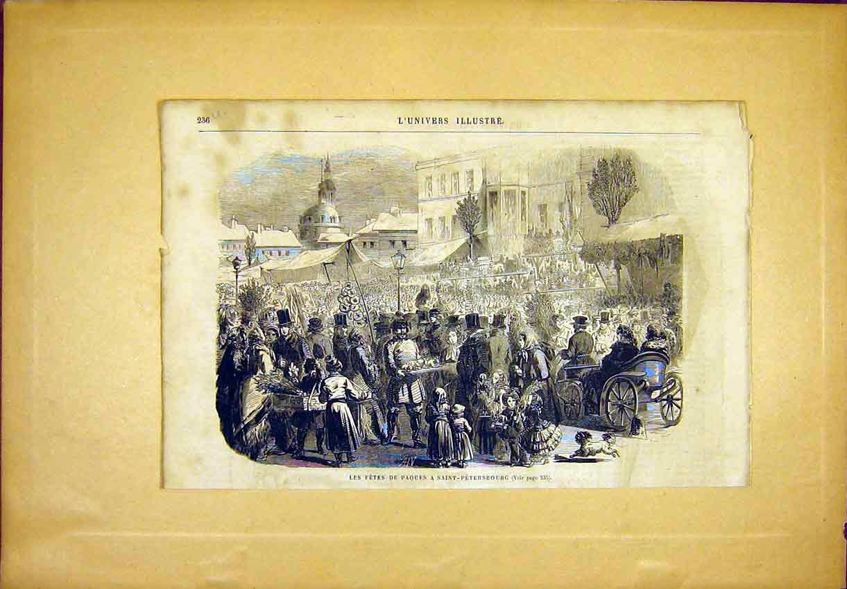 Print Fete Saint Petersburg Russia Festival French 1865 36Ulun0 Old Original