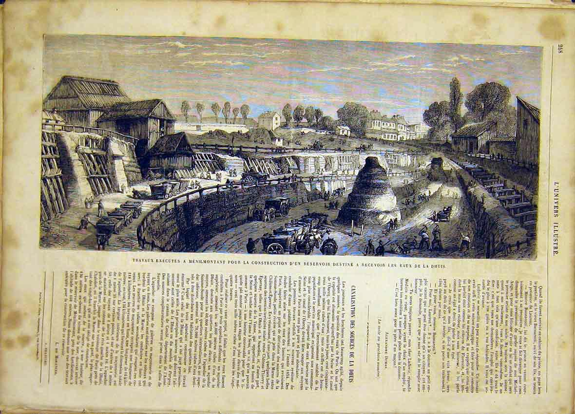 Print Dhuis Resevoir Construction River French 1865 48Lun0 Old Original