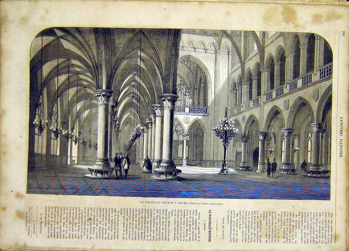 Print Breme Building Architecture French 1865 56Lun0 Old Original