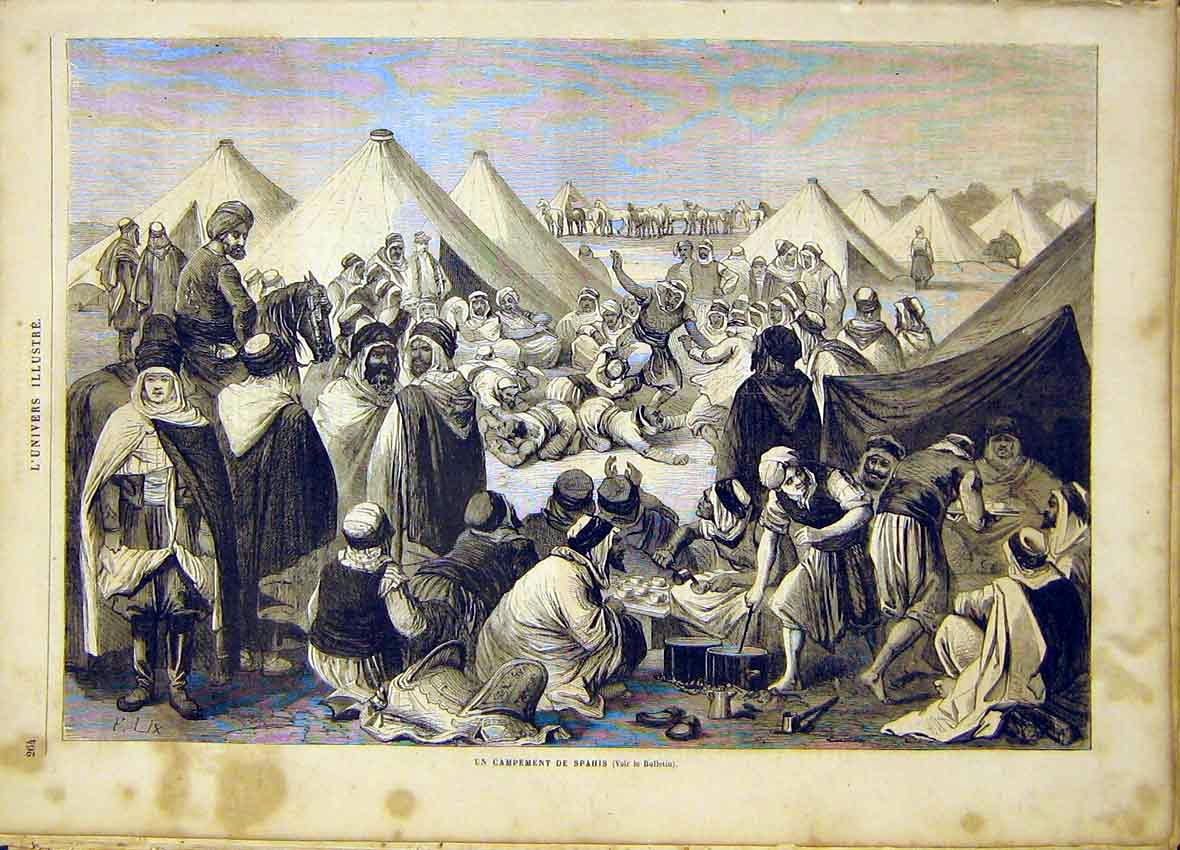 Print Spahis Camp French 1865 64Lun0 Old Original
