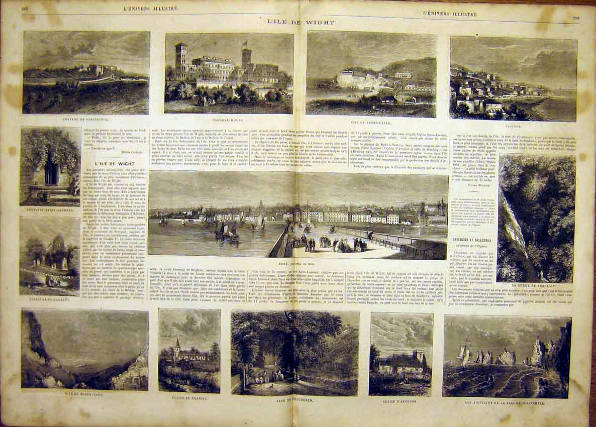 Print Isle Wight Osborne Ventnor Ryde French 1865 67Tlun0 Old Original