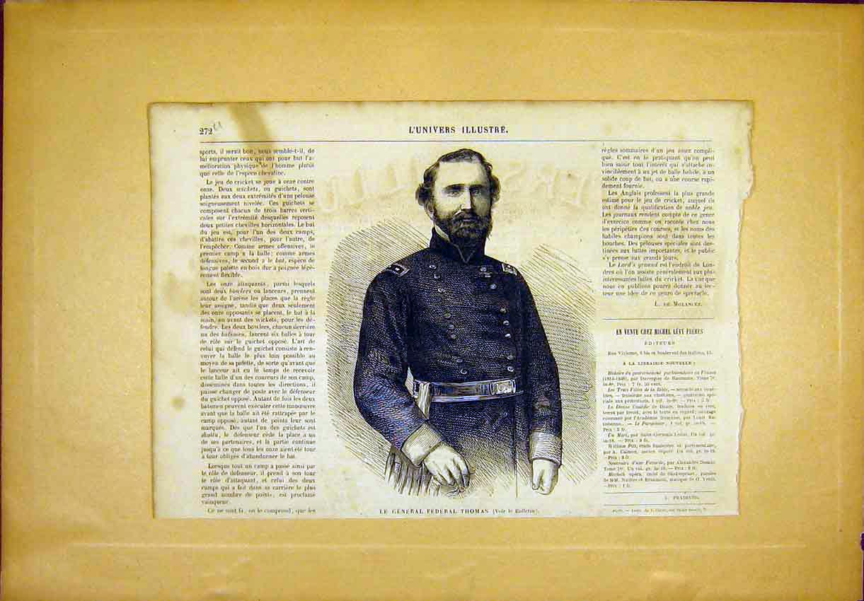 Print Portrait General Thomas Military French 1865 72Ulun0 Old Original
