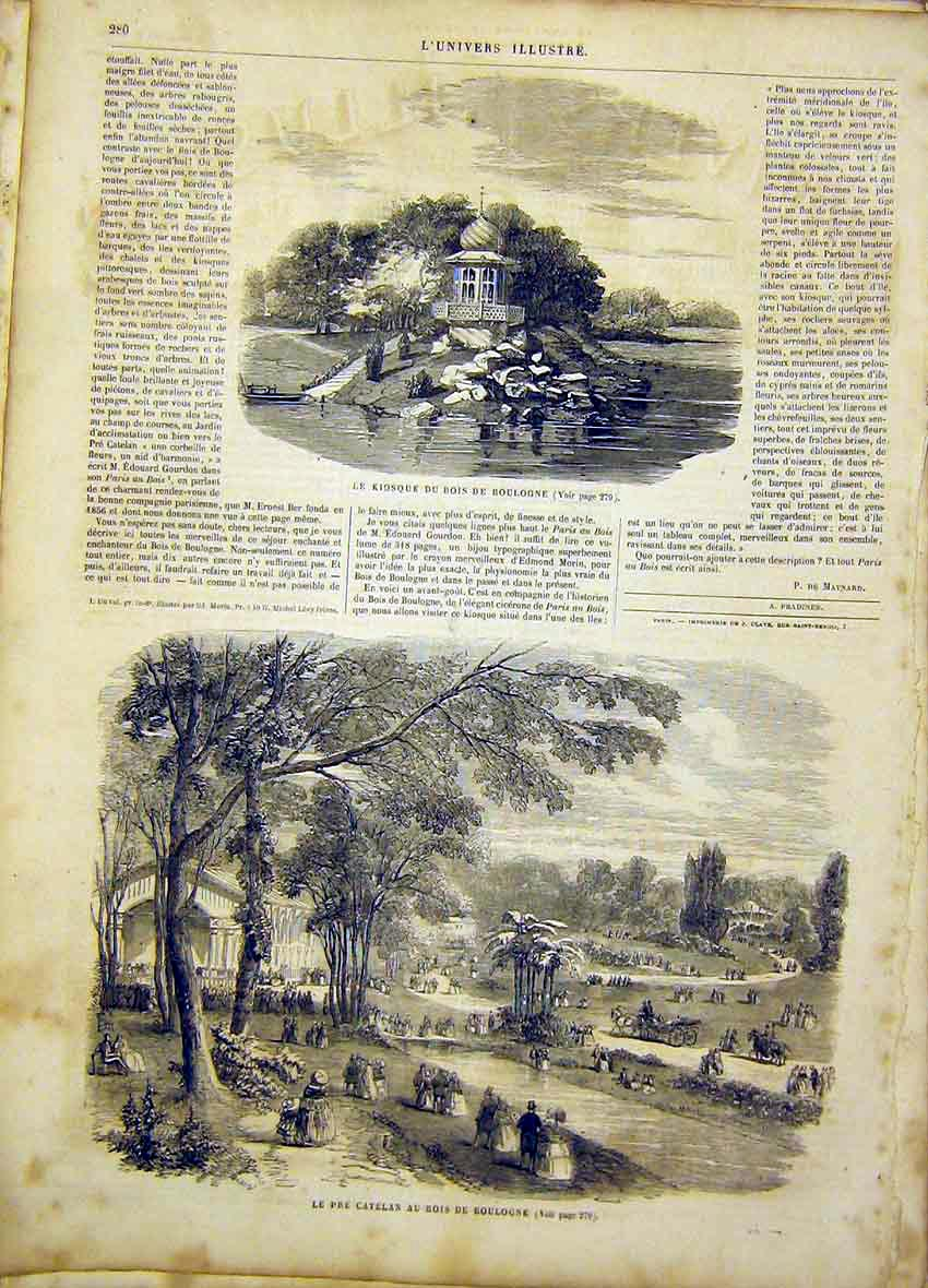 Print Boulogne Kiosque Catelan Park French 1865 80Lun0 Old Original