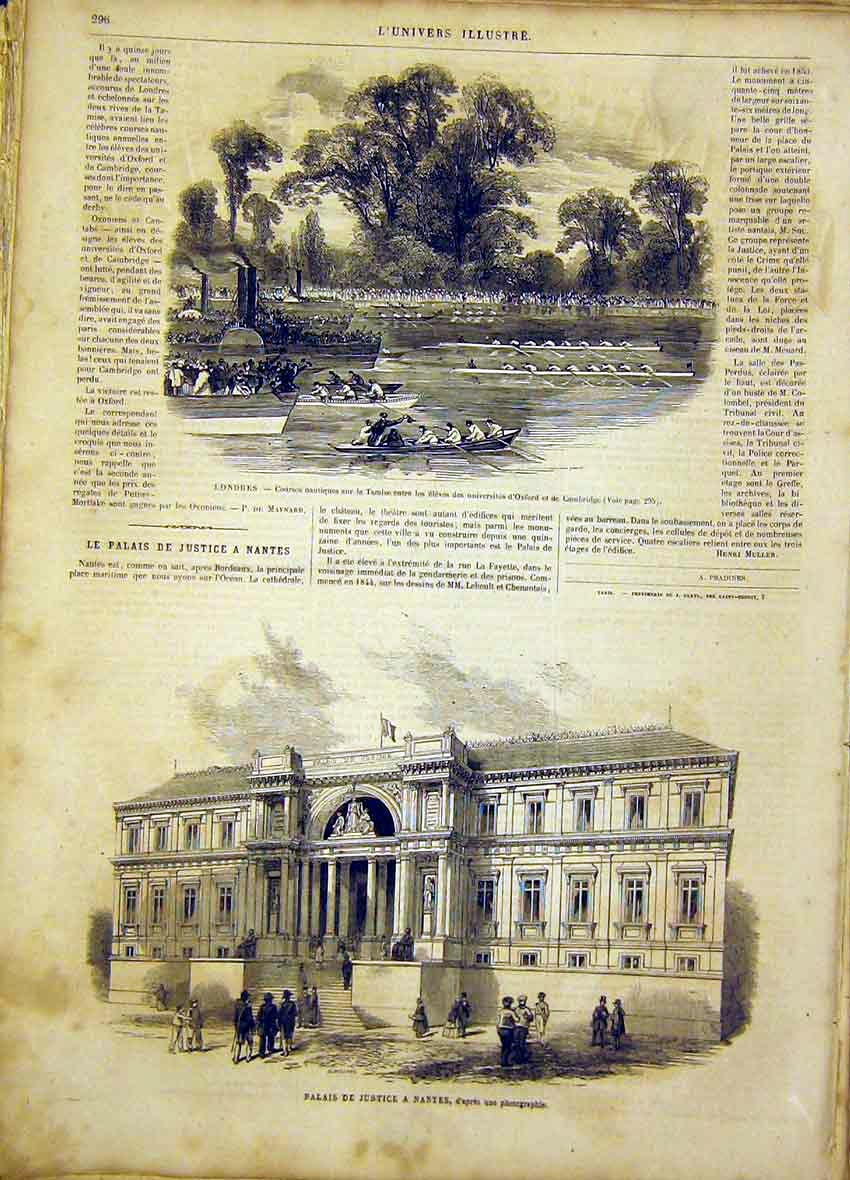 Print London Thames Boat Oxford Cambridge Nantes 1865 96Lun0 Old Original