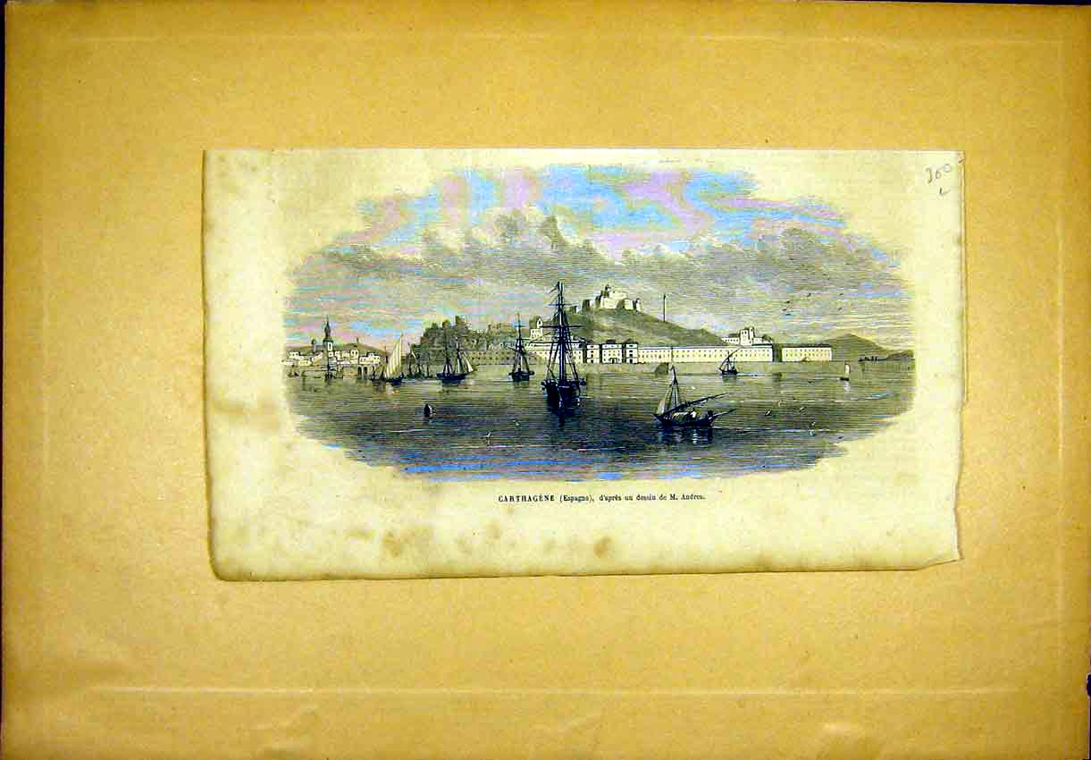 Print Carthagena Spain Andros French 1865 00Llun0 Old Original